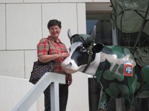 Meet A. Cow, an exhibit for the Cow Parade, a charity event for children's hospitals. Photo-- Fayetteville, NC, home of the Airborne. Copyright 2012 Linda Andersen.