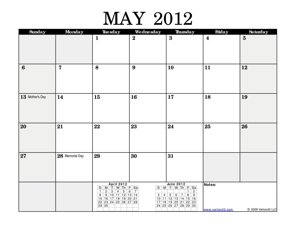 May Calendar Sheet : May calendar monthly black landscape page