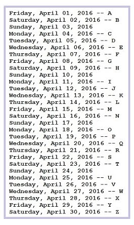 Letter Schedule [2016]