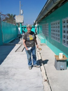 Gayle Martin on a mission trip to Haiti. She paints, she builds benches, etc.