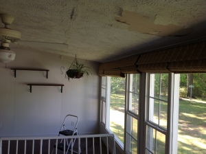 Roof leak caused damage to ceiling. Time to redo. Copyright 2016. Linda Martin Andersen